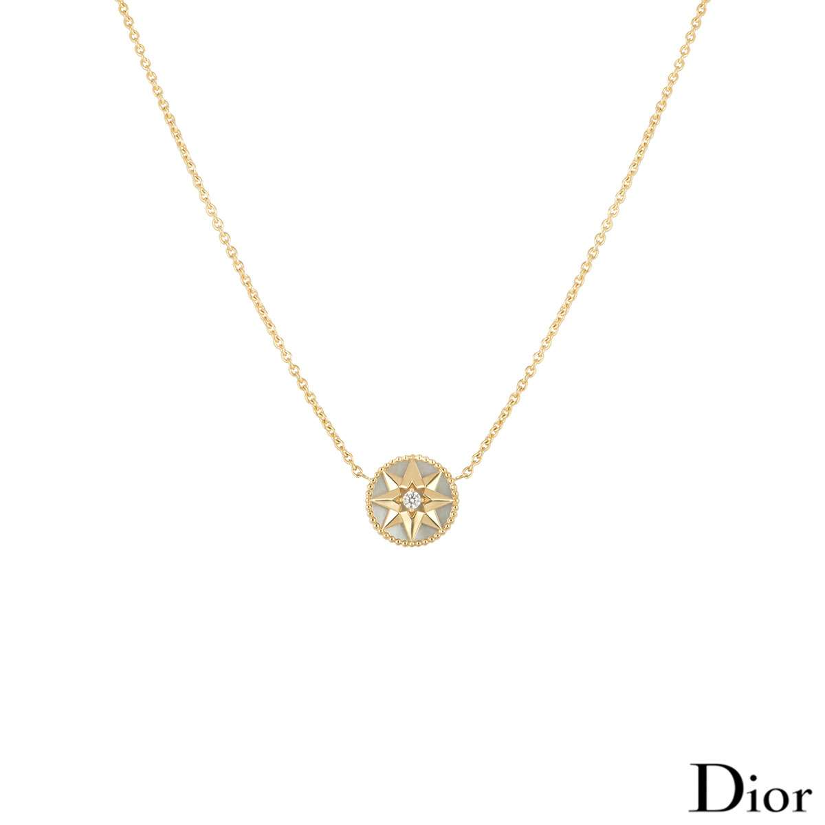 Dior Yellow Gold Rose des Vents Necklace JRDV95005